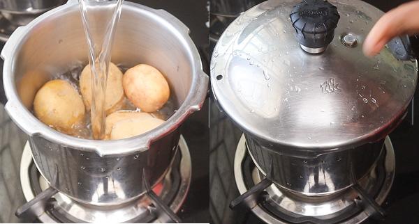 Egg potato stir fry step