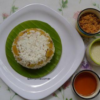Puttu With Banana Layer / Steamed Rice and Banana Cake