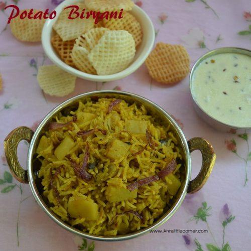 Potato Biryani in Pressure Cooker, Aloo Biryani