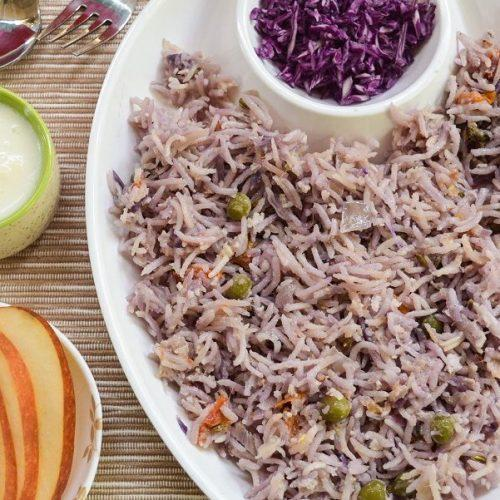 Red Cabbage Biryani / Purple Cabbage Biryani