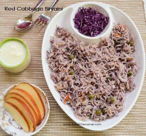 Red Cabbage Biryani / Purple Cabbage Biryani