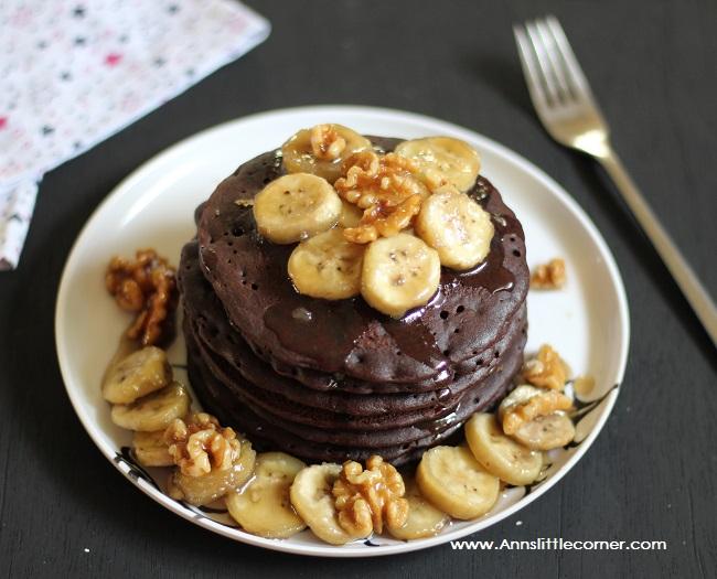 Chocolate Pancakes with Banana Walnut Sauce