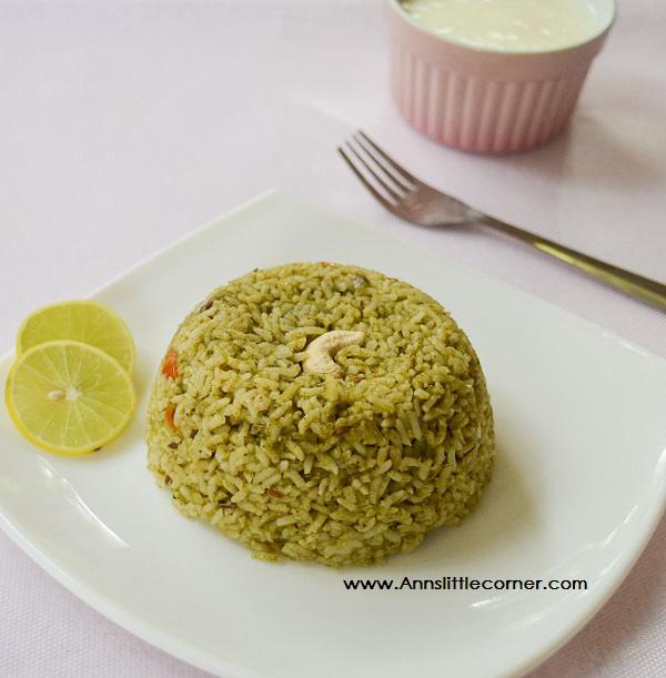 Mint Coriander Rice / Pudina Rice