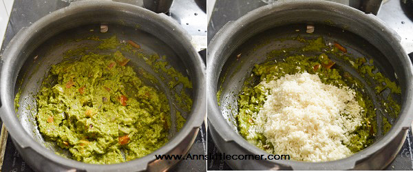 Mint Coriander Rice / Pudina Rice step 4